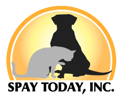 Spay Today (Greenville, North Carolina) logo is a grey cat in front of a black dog inside a yellow half circle