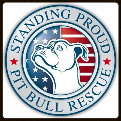 Standing Proud Pit Bull Rescue Center Corp. (Mesa, Arizona) | logo of pit bull, American flag, circle, red stars, standing proud