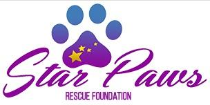 Star Paws Rescue Foundation (Marina Del Rey, California) | logo of purple and blue paw print, stars, Star Paws Rescue Foundation