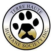 Terre Haute Humane Society (Terre Haute, Indiana) logo is a circle around a pawprint with a dog and cat profile on the paw pad