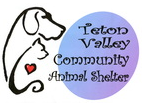 Teton Valley Community Animal Shelter (Driggs, Idaho) logo is the outline of a dog and a cat with a heart next to the org name