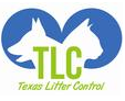"Texas Litter Control (Spring, Texas) logo is a dog profile and cat profile in blue circles with ""TLC"" in the middle"