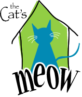 "Cat's Meow (Anacortes, Washington) logo of blue cat inside a green house over the word ""Meow"""