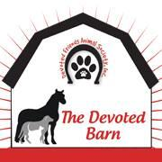 The Devoted Barn (Devoted Friends Animal Society) (Ortonville, Michigan) logo dog cat horse pawprint on barn