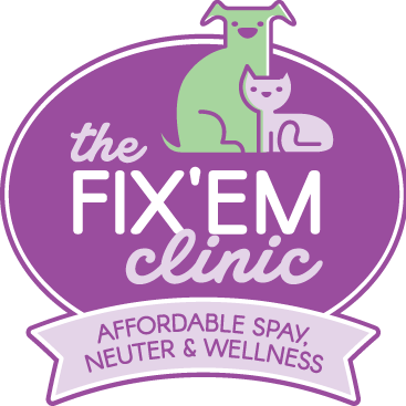 The Fix'Em Clinic (Charleston, West Virginia) logo cat dog in circle affordable spay neuter and wellness