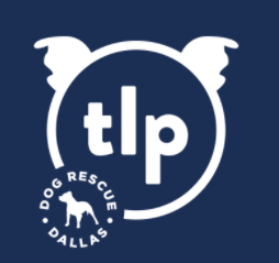 The Love Pit (Dallas, Texas) logo is white circle with ears with letters t l p in center with pit bull silhouette in bottom left