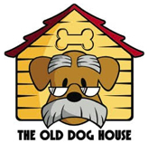 The Old Dog House (Jacksonville, Florida) logo is a cartoon dog with grey eyebrows and mustache and glasses in a dog house