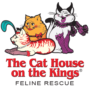The Cat House on Kings (Parlier, California) logo is three dressed up cats above the organization name
