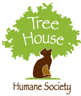 "Tree House Humane Society (Chicago, Illinois) logo is two cats forming a tree trunk with ""Tree House"" in the tree leaves"