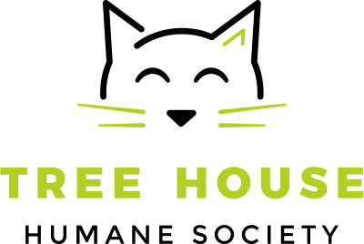 Tree House Humane Society (Chicago, Illinois) outline of cat head with org name below in green