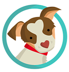 Underdog Animal Rescue (Lafayette, California) | logo of brown and white dog, heart nose, red collar, green circle