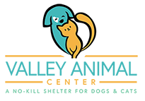 Valley Animal Center (Fresno, California) logo with cat and dog in the shape of a heart