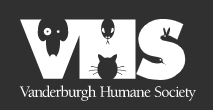 Vanderburgh Humane Society (Evansville, Indiana) logo with VHS and animals in letters