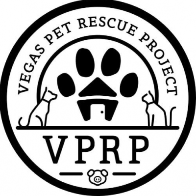Vegas Pet Rescue Project (Las Vegas, Nevada) logo of black dog house with paw print roof in circle with org name around the top
