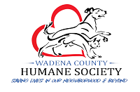 Wadena County Humane Society (Wadena, Minnesota) logo is a running dog and cat in front of a sideways heart above the org name