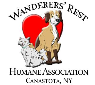 Wanderer's Rest Humane Association (Canastota, New York) logo with cat and dog in front of heart