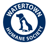 Watertown Humane Society (Watertown, Wisconsin) logo is white cat silhouette in front of blue dog silhouette inside blue circle