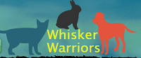 Whisker Warriors Animal Defense Fund (Rancho Cordova, California) | logo of red dog, blue cat, black rabbit, whisker warriors