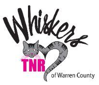 Whiskers TNR of Warren County, (Martensdale, Iowa) logo grey and black cat in heart shape with Black and pink text