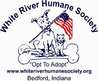 White River Humane Society (Bedford, Indiana) | logo of dog, cat, bone, U.S. flag, opt to adopt, White River Humane Society