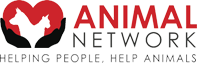 """Animal Network (Ellentown, Florida) logo with cat, dog, heart, hands, and tagline """"Helping People Help Animals"""""""
