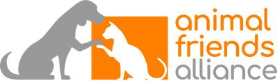 Animal Friends Alliance (Fort Collins, Colorado) logo with gray dog and white cat in orange block