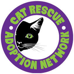 Cat Rescue & Adoption Network (Springfield, Oregon) logo is a purple circle with a black cat peeking out of the center