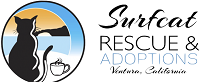 Surfcat Rescue and Adoptions (Oxnard, California) logo is a cat next to a cup of coffee facing the ocean