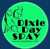 Dixie Spay/Neuter Express (Cleveland, Tennessee) round logo with 'Dixie Day Spay, Low Cost Spay/Neuter Clinic' with dog & cat