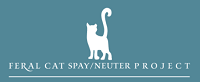Feral Cat Spay/Neuter Project (Lynnwood, Washington) logo of a white cat above the org name on a teal background