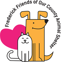 Frederick Friends of Our County Animal Shelter (Frederick, Maryland) logo with a gold dog, white cat and pink heart