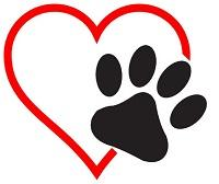 High Plateau Humane Society (Alturas, California) logo of black print on top of red outline of heart