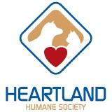 Heartland Humane Society (Yankton, South Dakota) logo of blue diamond, red heart and outline of a cat & dog on orange background