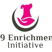 K9 Enrichment Initiative (Plainfield, Illinois) logo is a dog held in a hand in a half circle