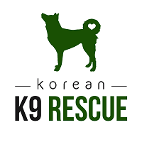 Korean K9 Rescue (Long Island City, New York) logo is the profile of a standing dog with its tail curled around a heart