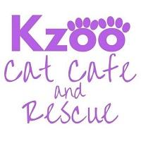 """Kzoo Cat Rescue (Kalamazoo, Michigan) logo is the organization name with """"oo"""" made to look like paws"""