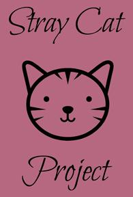 Stray Cat Project (Yardley, Pennsylvania) logo is a drawing of a cat face with the organization name on a dark pink background