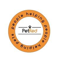"PetRed (Charlotte, North Carolina) logo is ""PetRed"" inside a circle with ""people helping people helping pets"" tagline"