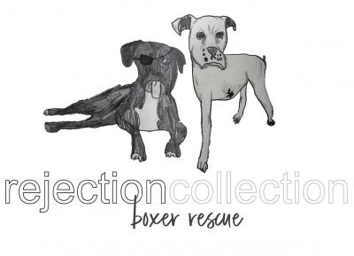 Rejection Collection Boxer Rescue (Owatonna, Minnesota) logo with boxer dogs