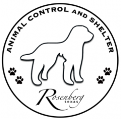 Rosenberg Animal Control & Shelter (Rosenberg, Texas) logo with dog and pawprints in circle