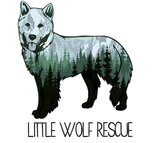 Little Wolf Rescue (Pasadena, California) logo of wolf with tongue sticking out and text Little Wolf Rescue
