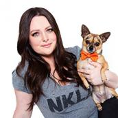 Lauren Ash with her adopted dog Fox
