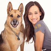 Maggie Q and her adopted dog