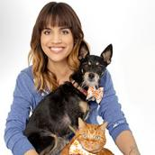 Natalie Morales with her adopted dog Taco and adopted cat Axl