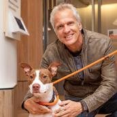 Patrick Fabian with brown and white dog