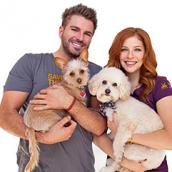 Rachelle Lefevre and chef Chris Crary with their two adopted dogs