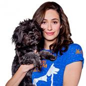 Emmy Rossum and small dog