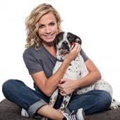 Michelle Beadle with her adopted dog