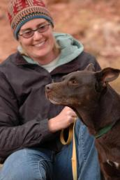 Dog with heart problem on a hike with a woman