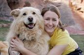 Vanderbilt University student and dog at Best Friends Animal Sanctuary
